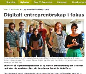 Digitalt entreprenörsskap, videoreklamfilmer och artikel i Infotech